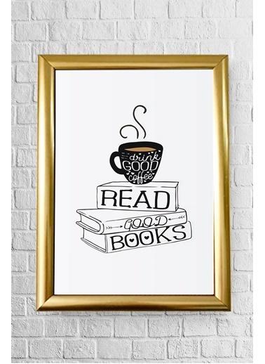 Lyn Home & Decor Read Good Books Çerçeveli Poster Tablo 23.5X33,5 Altın